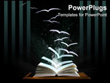 PowerPoint Template - Magic book with pages transforming into birds