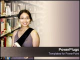 PowerPoint Template - College student stands in library.