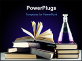PowerPoint Template - Books. Education chemistry. Isolated over black background