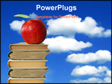 PowerPoint Template - apple on books heap against cloudy blue sky