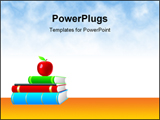 PowerPoint Template - A few books and an apple on the top with yellow background