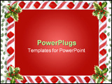 PowerPoint Template - Image and illustration composition Christmas design with holly leaves and candy ribbons