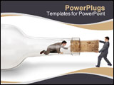 PowerPoint Template - a businessman trapped inside a bottle trying to crawl out through the neck with his partner