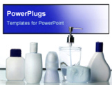 PowerPoint Template - Row of clean bottles on counter.