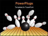 PowerPoint Template - Bowling ball hitting pins on black background