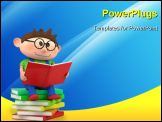 PowerPoint Template - cute little cartoon boy sitting on books reading - high quality 3d illustration