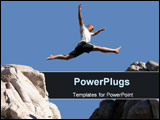 PowerPoint Template - boy jumping over the mountains