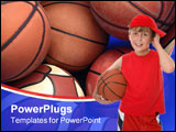 PowerPoint Template - Flushed child holding a basketball aftera game.