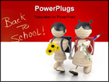 PowerPoint Template - 3d model boy and girl and yellow flowers.