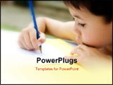 PowerPoint Template - Young boy enjoying his handwriting homework outdoors.