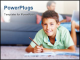 PowerPoint Template - Smart young boy studying on the floor with father in the background
