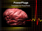 PowerPoint Template - Digital illustration of a human brain with ecg in black colour