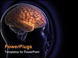PowerPoint Template - a computer graphic rendering of a human brain