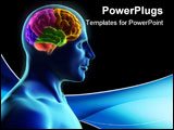PowerPoint Template - Human body and brain x-ray look - 3d render
