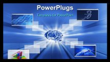 PowerPoint Template - A brain technology background and and different windows
