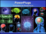 PowerPoint Template - Balls of energy jump out the brain. Concept of idea the power of mind.