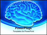 PowerPoint Template - 3D human brain from the side over a blue background