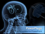 PowerPoint Template - Close-up X-Ray of a male skeleton head with a series of gears for the concept of thought.