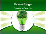 PowerPoint Template - brains inside a green bulb. isolated on white.