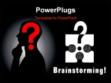 PowerPoint Template - onceptual brainstorming symbol composed by a puzzle piece and three human brains. They struggle to