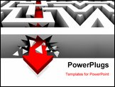 PowerPoint Template - A red arrow crashes through the walls of a maze to freedom
