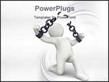 PowerPoint Template - Personage 3D breaking chains on white background