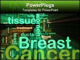 PowerPoint Template - Word cloud tags concept illustration of breast cancer glowing neon light style