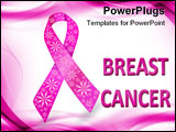 PowerPoint Template - Breast cancer ribbon in pink with glitter flowers