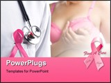 PowerPoint Template - Doctor with pink badge and woman in pink bra on background a concept for breast cancer