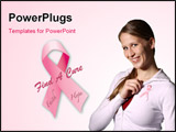 PowerPoint Template - Find a cure breast cancer awareness ribbon