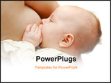 PowerPoint Template - close up of baby near breast over white
