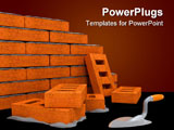 PowerPoint Template - First bricks of new house. Brick wall foundation
