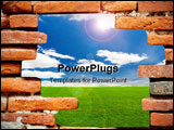 PowerPoint Template - Old brick wall in front of the blue sky