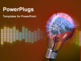PowerPoint Template - Human brain inside a glowing electrical bulb. Digital illustration.