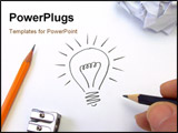 PowerPoint Template - A stylised illustration of a light bulb that has been sketched on a sheet of paper.