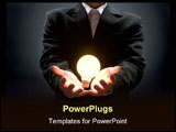 PowerPoint Template - Anonymous business man holds a light bulb metaphorically in his hands.