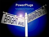 PowerPoint Template - street post with bright ave and imagination street signs
