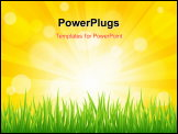 PowerPoint Template - Bright vector sun effect with green grass field
