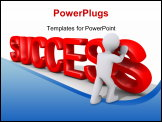 PowerPoint Template - 3d person putting up the last letter of the word success