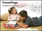 PowerPoint Template - Brother and sister reading book on the floor