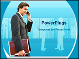 PowerPoint Template - man over phone with office file