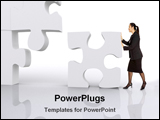 PowerPoint Template - business lady with puzzle