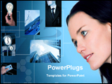 PowerPoint Template - business lady and abstract background