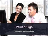 PowerPoint Template - business discussion in an office