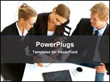 PowerPoint Template - business discussion in a office