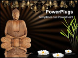 PowerPoint Template - uddha in meditation in abstract zen garden with bamboo leaf grass white lotus lily flower and refle