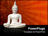 PowerPoint Template - hite buddha statue, isolated including clipping path. Hence the buddha statue can also be used on a