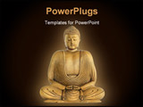 PowerPoint Template - Buddha in prayer with golden aura over black background.