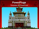 PowerPoint Template - Buddhist temple. A pagoda. front view on a background of the blue sky.