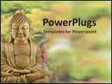 PowerPoint Template - A Buddha statue sitting in the  garden